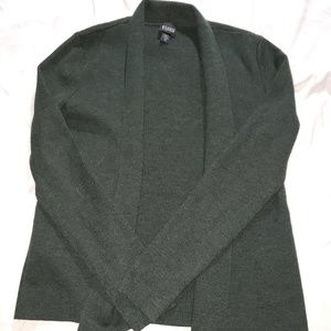Eileen Fisher Dark Green Wool Open Cardigan